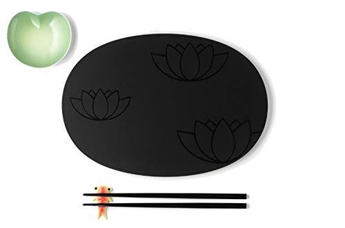 Alessi Asg90 Set Lily Pond Set à Sushi Composé de: Assiette et Baguettes en Mélamine, Petite Assiette Pour Sauce Soja et Support Pour Baguettes en Fine Bone China