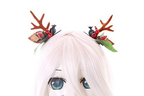 Kostüm Fairy Prinzessin Gothic - Kawaii-Story C-56-1 Mini REH Rentier Geweih mit Ohren Früchten Blätter Fairy Wald Fee Fantasy Kopfschmuck Haar-Clips Gothic Lolita LARP