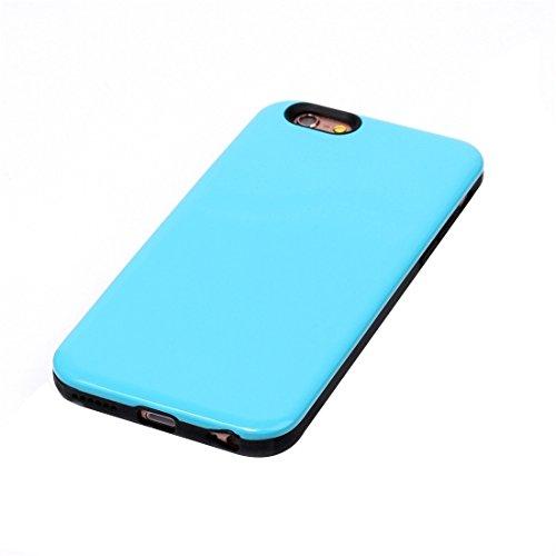 Pour iPhone 6 Plus / 6s Plus, TPU + Housse de protection en combinaison combinée PU JING ( Color : Purple ) Blue