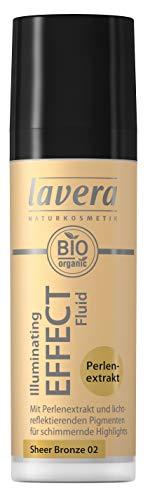 lavera Illuminating Effect Fluid -Sheer Bronze 02- Fluide crème Ultraléger ∙ Extrait de perle ✔ Cosmétiques naturels ✔ Make up ✔ Ingrédients végétaux bio ✔ 100% Naturel Maquillage (30 ml)