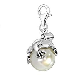 7cf92271727 Quiges 925 Sterling Silver Imitation Pearl 3D Frog Prince Clip On Lobster  Clasp Charm…