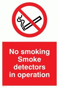 Viking Schilder ps7-a5p-1m No Smoking Rauchmelder in Operation Zeichen, Kunststoff, 1mm...