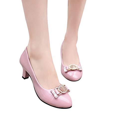 TianWlio Pumps Mode Beiläufige Berufsschuhe Runde Zehe Kristallflacher Med Heels Parteischuhe Arbeitsschuhe Pink ()
