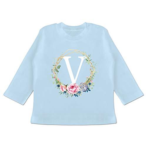 Anfangsbuchstaben Baby - Blumenkranz mit Buchstabe V - 6-12 Monate - Babyblau - BZ11 - Baby T-Shirt Langarm