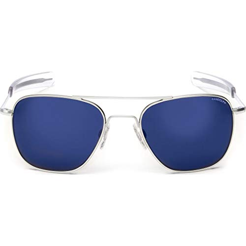 Randolph Sunglasses Aviator Matte Chrome Blue Sky Flash Mirror 55 AF158 NEW