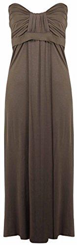 Purple Hanger - Robe Longue Été Sans Bretelle Grande Taille Haut Bandeau Noeud Maxi Neuf Marron - Moka