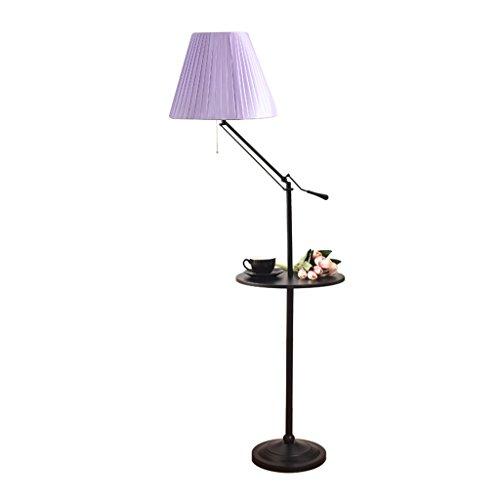 Leuchtstofflampen Stehleuchte (YILIAN luodideng Idyllische Retro-Stil Leuchtstofflampe Schmiedeeisen Stehleuchte mit Tablett Wohnzimmer Schlafzimmer Studie Tischlampe 40X160cm (Farbe : Helles Lila))