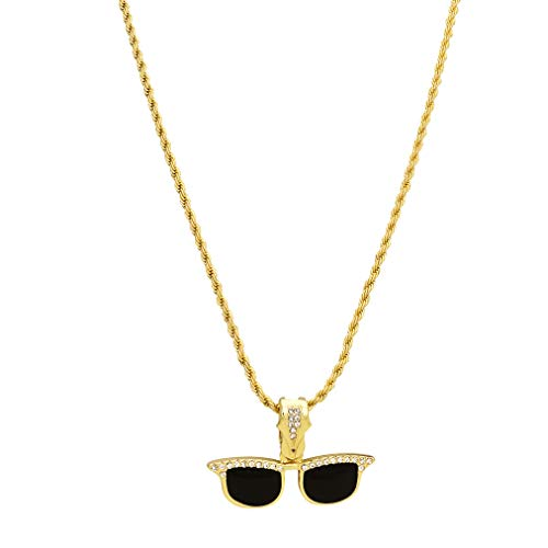 Halskette mit Anhänger in Hip-Hop-Optik, goldfarben