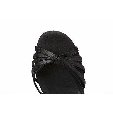 Scarpe da ballo-Non personalizzabile-Da donna-Balli latino-americani-Quadrato-Raso-Nero / Marrone Dark Brown