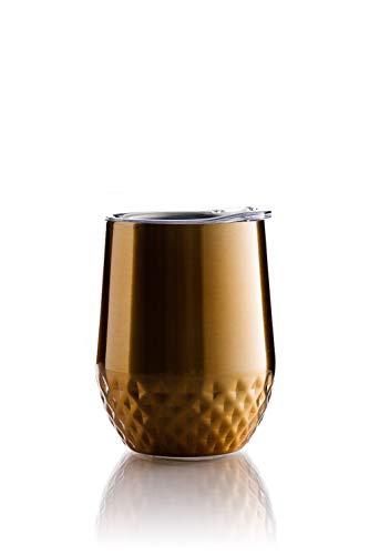 BOHORIA® Premium Quality Edelstahl Isolierbecher | Thermo-Becher | Doppelwandig & Vakuumisoliert - Leicht & Elegant (350ml) | Wein-Glas to go | Reisebecher mit Deckel für Kaffee, Tee (Gold)