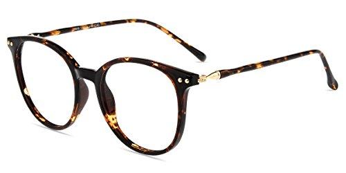 Zinff S939 Klassisch Klar Beinstein Klassik Damen Brille Linsebreite 52mm Retro Vintage Rund brille mit Blaulicht-Filter, Bernstein,