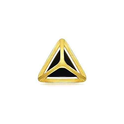 SonMo 18 Karat 750 Gelbgold Ohrringe Schwarze Jade Ohrstecker Echtgold Ohrringe Brilliant Dreieck Form Ohrstecker Mädchen Glückbringer Schmuck für Hochzeit Verlobung 1 Stück