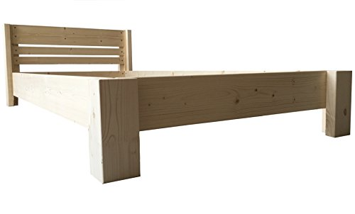 LIEGEWERK Bett Holz massiv mit Kopfteil Designbett Holzbett 90 100 120 140 160 180 200 x 200cm hergestellt in BRD Massivholzbett