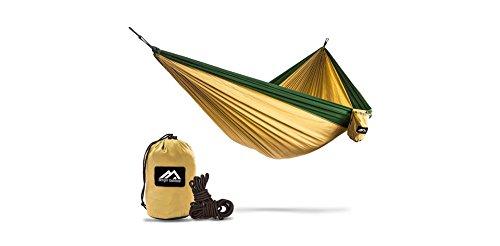 Berger Outdoor Doppelhängematte aus reißsicherer Fallschirmseide, Camping & Outdoor Hängematte (3m x 2m), Gelb-Dunkelgrün