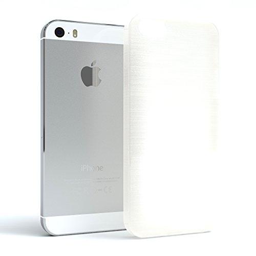 """EAZY CASE Handyhülle für Apple iPhone SE, iPhone 5S/5 Hülle - Premium Handy Schutzhülle Slimcover """"Clear"""" hochwertig und kratzfest - Transparentes Silikon Backcover in Klar / Durchsichtig Brushed Weiß"""