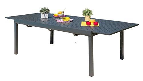 DCB GARDEN MIAMI-TB300 Table alu avec rallonge Automatique Gris Anthracite 250/300 250x110x77 cm