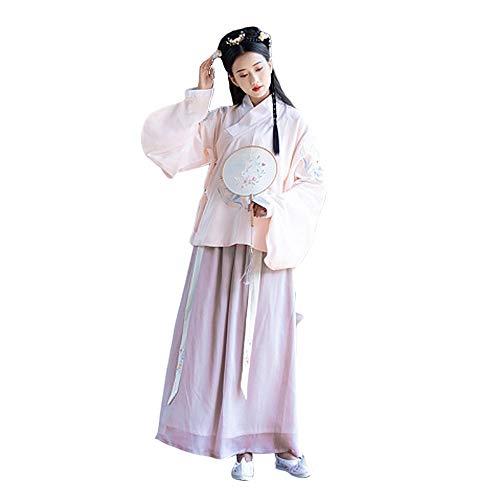 Und Mode Kostüm Kultur - YCWY Mode Alten chinesischen traditionellen Langarm Hanfu Kleid Cosplay Tanz kostüm,M