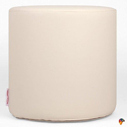 Arketicom chill pouf poggiapiedi rotondo ecopelle sfoderabile puff beige 42x42