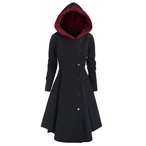 iHENGH Damen Herbst Winter Bequem Mantel Lässig Mode Jacke Frauen Plus Size Asymmetrische Fleece Mit Kapuze Einreiher Lange Drap Buttons Coat(Schwarz, 2XL)