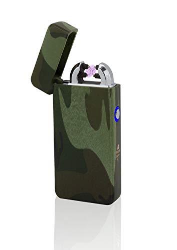 TESLA Lighter T08 Lichtbogen-Feuerzeug, elektronisches USB Feuerzeug, Double-Arc Lighter, wiederaufladbar, Camouflage/Flecktarn