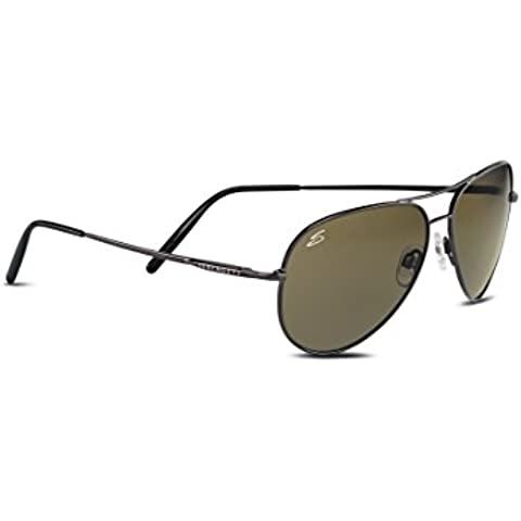Serengeti Medium Aviator Occhiali da Sole, Colore Lente Polarized 555nm, Categoria Lente 3, Grigio