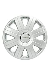 Good Year GOD9028 - Set of 4 Universal Hubcap-Car Wheel Trims Flexo 20, Silver, 15 inches
