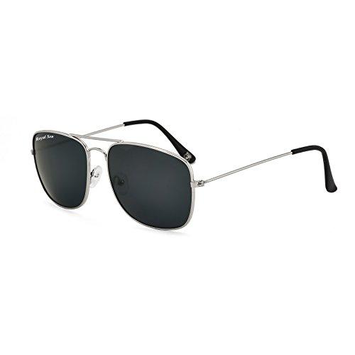 Royal Son UV Protected Square Sunglasses For Men And Women (RS0038AV|58|Black Lens)