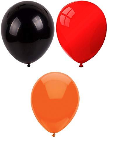 INERRA Globos - Pack of 75 Mezclado (25 X Negro & 25 X Rojo & 25 X Naranja) Látex 10' For Helio o Aire