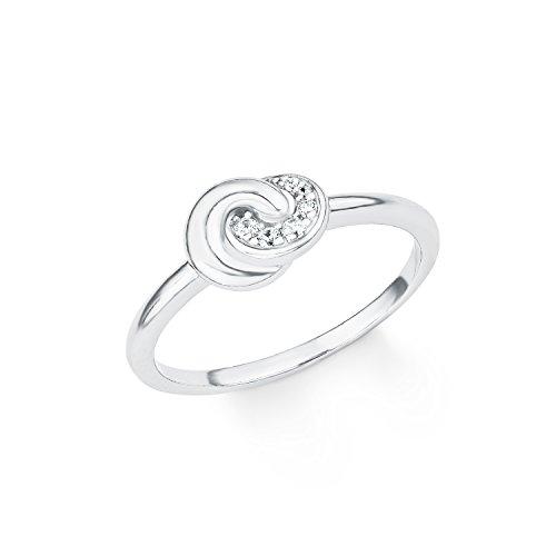 s.Oliver Damen-Ring So Pure Knoten 925 Sterling Silber rhodiniert Zirkonia weiß