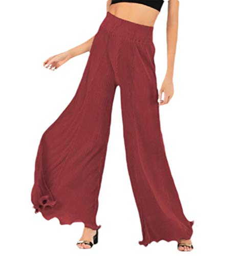 CuteRose Women Solid Color Skinny Long Pants Lounge Pleated Palazzo Trousers Red M