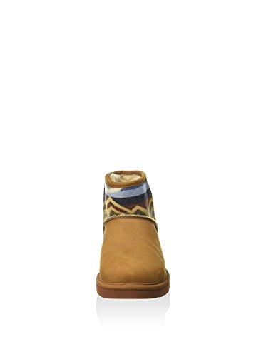 Tronchetto UGG Classic Pendleton Mini in pelle marrone cuoio Marrone