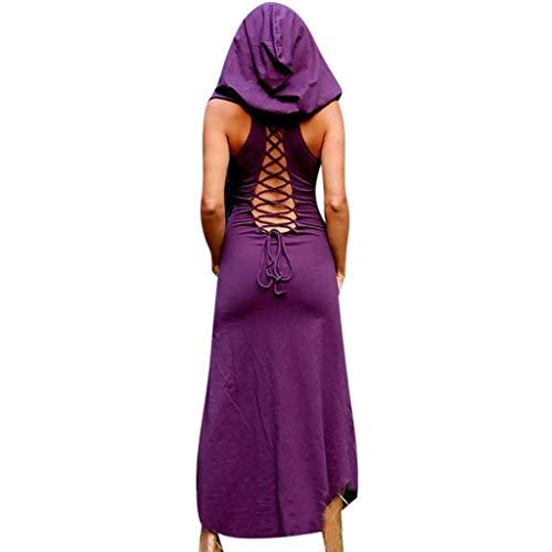 Gothic Kleidung Damen Binggong Kleid Mittelalter Kostüm Punk Karneval Kostüm Frau Cosplay Kurzarm Steampunk Minikleid Sommer Schnürung Rückenfrei Kapuzen Party Vintage Kleid T-Shirtkleid Tank - Elegantes Flapper Kostüm Für Erwachsene