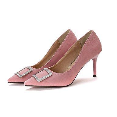 WIKAI Donna Slingback tacchi PU molla Slingback Casual arrossendo rosa grigio nero 1A-1 3/4in,grigio,US8 / EU39 / UK6 / CN39 Gray