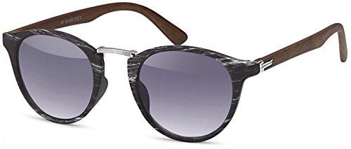 styleBREAKER Sonnenbrille in Holz Optik und runden Gläsern, Kunststoff-Metall-Gestell, Unisex 09020083, Farbe:Gestell Schwarz-Silber/Glas Grau Verlauf