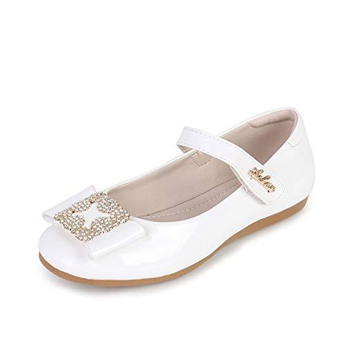 Mädchen Prinzessin Schuhe Perlen Sandale Festliche Kinder Halbschuhe Hochzeit Kostüm Ballerinas Bow Dekor (Größe 30 Länge 19.2CM, Weiß) (Hochzeiten Dekor Für)