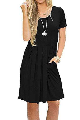 Damen Kleid Kurzarm Sommer Casual Lose Swing Minikleid T-Shirt Kleid Mit Taschen Schwarz M (Flowy Kleid Mit ärmeln)