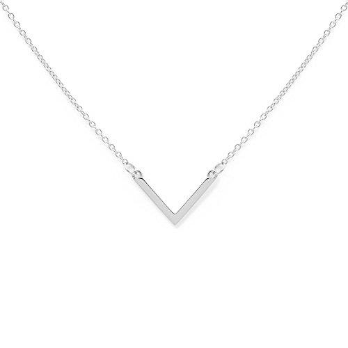 prettique Damen Halskette TRIANGLE kurz aus 925 Sterlingsilber (rhodiniert) mit Anhänger in V-Form – Silberkette – 43 Zentimeter – Geschenk (De V-pullover)