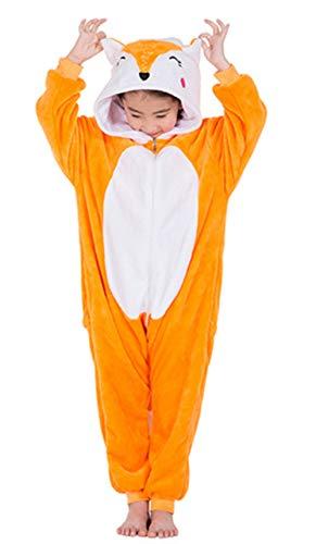 Woneart Kinder Schlafanzug Einhorn Pyjama Tier Overall Tierkostüme Jumpsuits Weihnachten Karneval Cosplay Kostüm für Mädchen Jungen (Fox, 130 for 130-135)