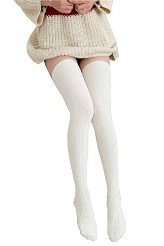 Knee High Socks 1 Paar Halten Overknee Strümpfe Stricken Sport Socken (Beige Socken Stricken)