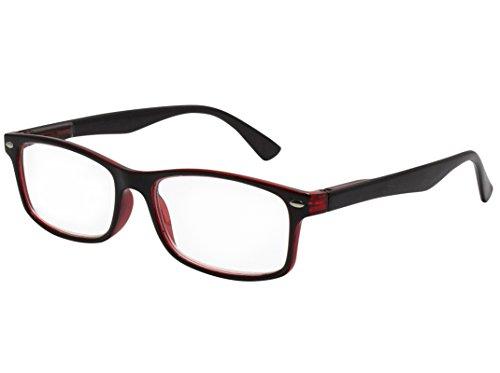 Tboc® occhiali da vista lettura presbiopia - graduati +1.50 diottrie montatura bicolore nera e rossa fashion leggeri quadrati da vicino per computer donna e uomo unisex aste con cerniere con molla