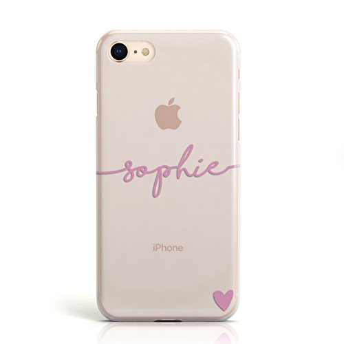 e Handyhülle mit personalisiertem Namen und Herzen, Hülle für Apple iPhone, 8. Pink Name & Heart Clear, Apple iPhone 7 / 7s ()