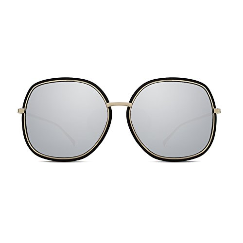 Sunyan eine große Box der koreanischen Version des neuen Sonnenbrillen Metall video Dünne große Gesicht Sonnenbrillen Mode der roten Männer und Frauen Persönlichkeit Gläser hell, Schwarz und Weiß Quecksilber.