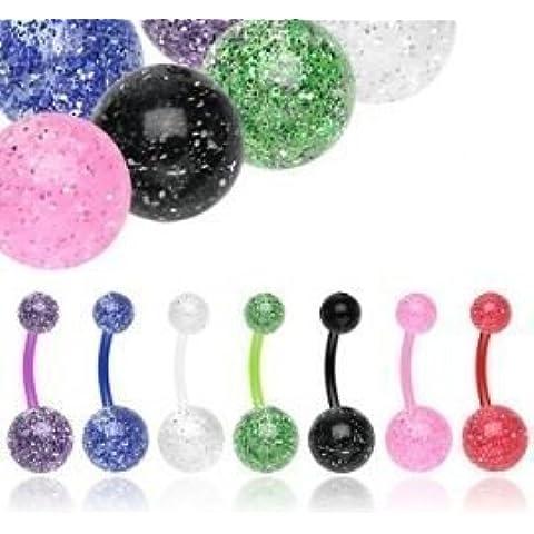7 x colores mix de Piercings flexibles para ombligo con bolas de acrílico y brillo UV- Bisutería Corporal 14G 10MM - Piercings para el