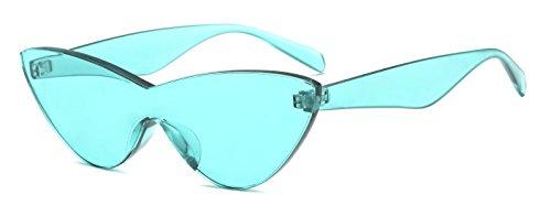 SHADESFIELD Bunte Sonnenbrille für Damen, randlos, transparent, Katzenaugen-Sonnenbrille, getönt, Candy, Blau (seeblau), Medium
