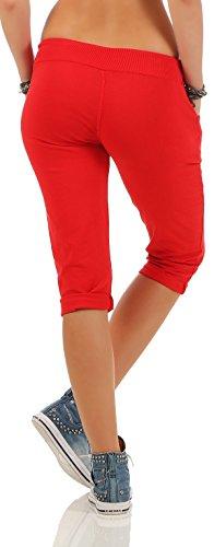 malito corto Pantaloni monocolore Pantaloni della tuta Baggy 83701 Donna Taglia Unica Rosso