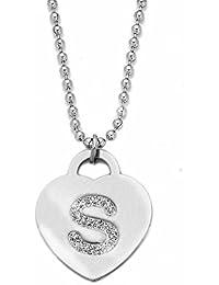 Beloved ❤ Collana con ciondolo da donna in acciaio con cristalli con  lettera iniziale - pendente a forma di cuore… 959662256ee