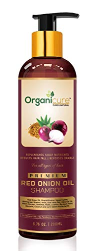 Organicure Red Onion Hair Growth Shampoo For Hair Fall & Dandruff Control For men & Women; Natural Herbal Extracts of Bhringraj, Shikakai, Amla Hibiscus & Methi | Sulfate & Paraben Free | 200 Ml