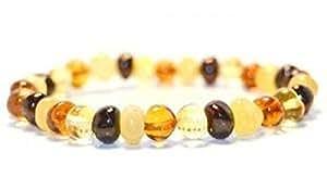 Bracelet Adulte - Ambre multicolore véritable de la Baltique