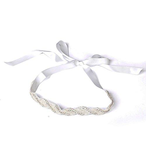 Pixnor mariée mariage bandeau perle strass Décoré Barrettes Cheveux (Blanc)