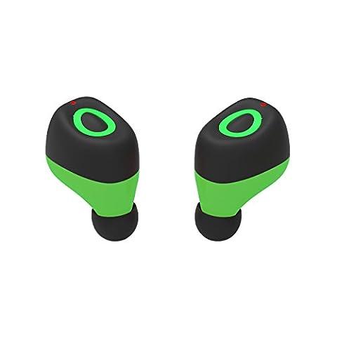 Wireless Bluetooth Headphone Earbuds Q17 Mini Wireless Bluetooth Kopfhörer Sport Headsets Zwillinge Noise Cancelling Stereo Headsets Sweatproof mit HD für Smartphones(Green)